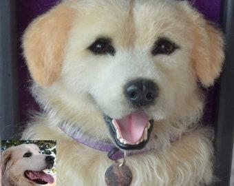 Dog portrait sculpture in frame Maltese Needle felted Felt Pet Shadow box pet Wool sculpture Realistic dog felt portrait Pet replica Wool
