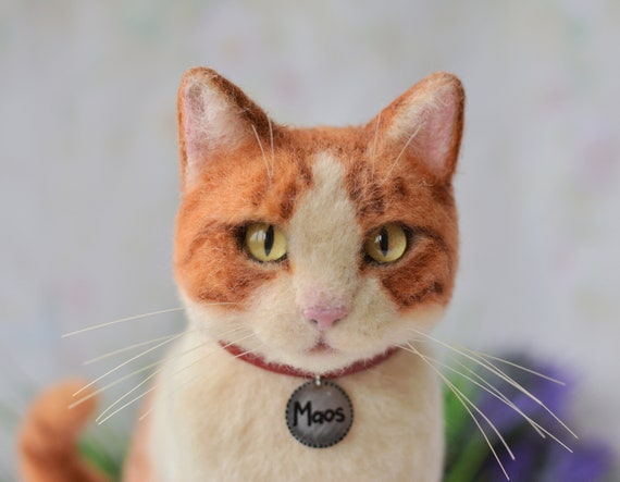Ginger cat Wool sculpture Needle felted pet Cat ornament Customized cat portrait Realistic cat Pet Replica Burnt Orange Cat lover gift
