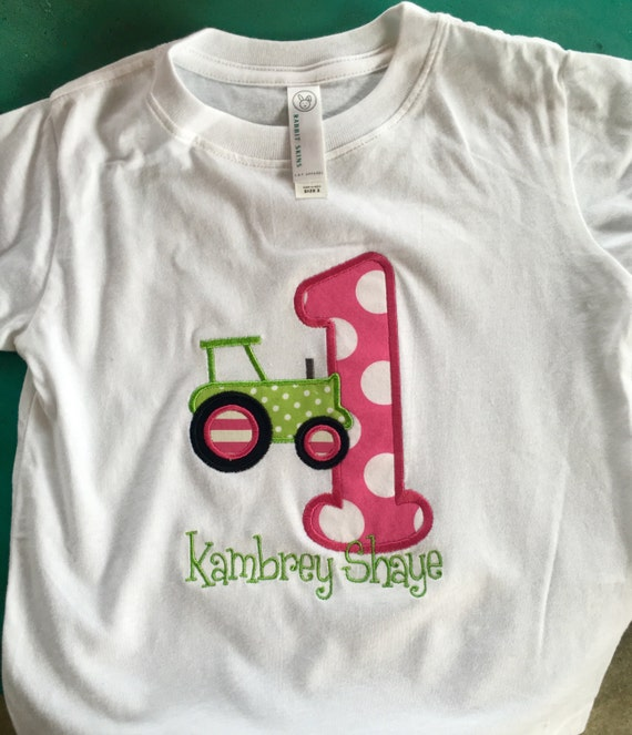 Personalized Tractor Pink Green Birthdays Age T Shirt