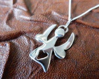 Sterling Silver Angel Heart Pendant