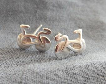 Sterling Silver Bicycle Earrings