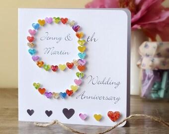 9th Wedding Anniversary Card, Handmade Personalised Ninth Anniversary Card, Personalized Husband Wife Card, 9 Wedding Anniversary BHAN09