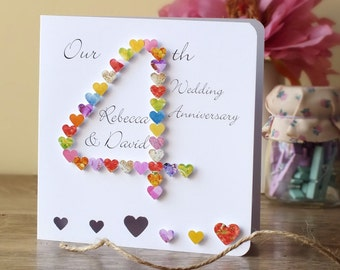 4th Wedding Anniversary Card - Handmade - Personalised - 4th Anniversary Card - Personalized - Husband - Wife - Our  Anniversary 3D BHAN04