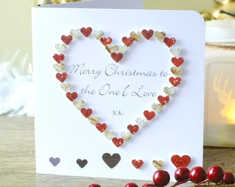 The One I Love Christmas Card - Personalised Christmas Card for Wife / Husband / Girlfriend / One I Love, Happy Holidays, Xmas Cards,  BHX05