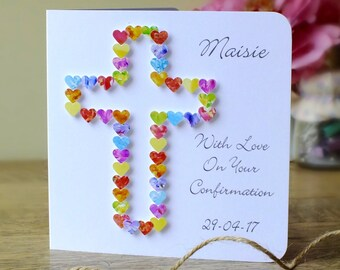 Confirmation Day Card - Personalised Confirmation Card with Name and Date, Handmade 3D - Boy / Girl - On Your Confirmation Day
