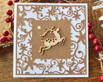 pack of 3 rustic handmade christmas cards happy holidays xmas cards wooden reindeer rudolph merry christmas - Photo Xmas Cards