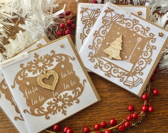Pack of 4 Rustic Handmade Christmas Cards - Happy Holidays - Xmas Card Set - Wooden Christmas Tree & Wreath - Merry Christmas