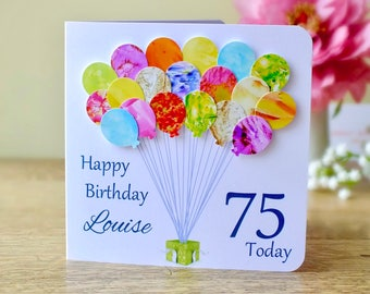 75th Birthday Card - Personalised Age 75 Birthday Balloons Card - Handmade Custom Personalised - Mum - Dad - Sister - Friend Colourful BHB75