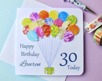 30th Birthday Card - Personalised Age 30 Birthday Balloons Card - Handmade Custom Personalized - Son - Daughter - Boy - Girl Colourful BHB30