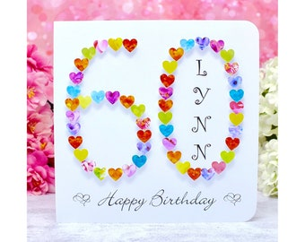 60th Birthday Card - Personalised Age 60 Card - Handmade and Customised, perfect for Mum or special friend !