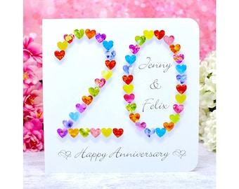 Personalised China Wedding 20th Anniversary Card c//w envelope FREE P+P 20 years