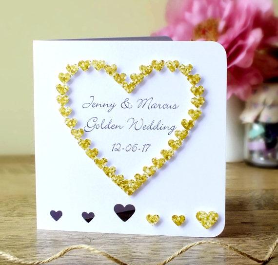 handmade 50th golden wedding anniversary card 50th wedding etsy