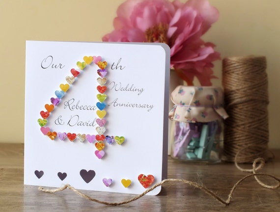 What Is The 4th Wedding Anniversary Gift: 4th Wedding Anniversary Card Handmade Personalised 4th
