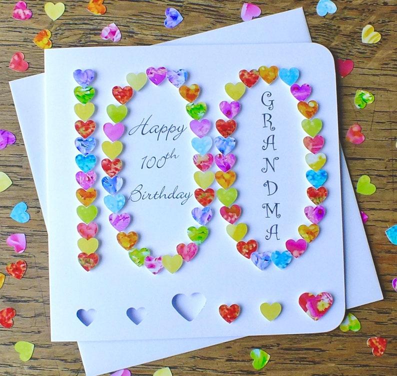 100th carte d/'anniversaire personnalisé âge 100 carte d/'anniversaire grand-mère grand-père BHA100