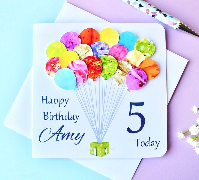 5th Birthday Card Personalised Age 5 Balloons