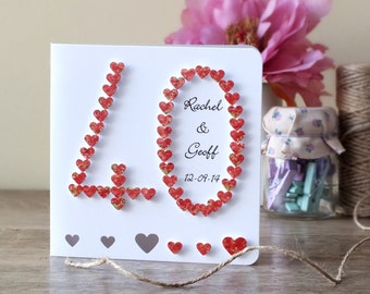 Handmade 3D 40th Ruby Wedding Anniversary Card, 40th Anniversary Card, 40 Wedding Card, Personalized / Personalised Customised Names BHAN40a