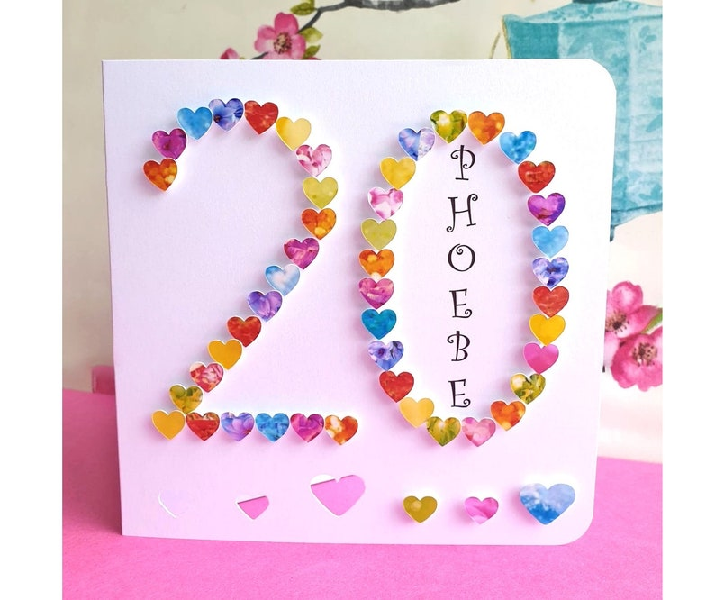 20th Birthday Card Handmade And Personalised Age 20 Cards