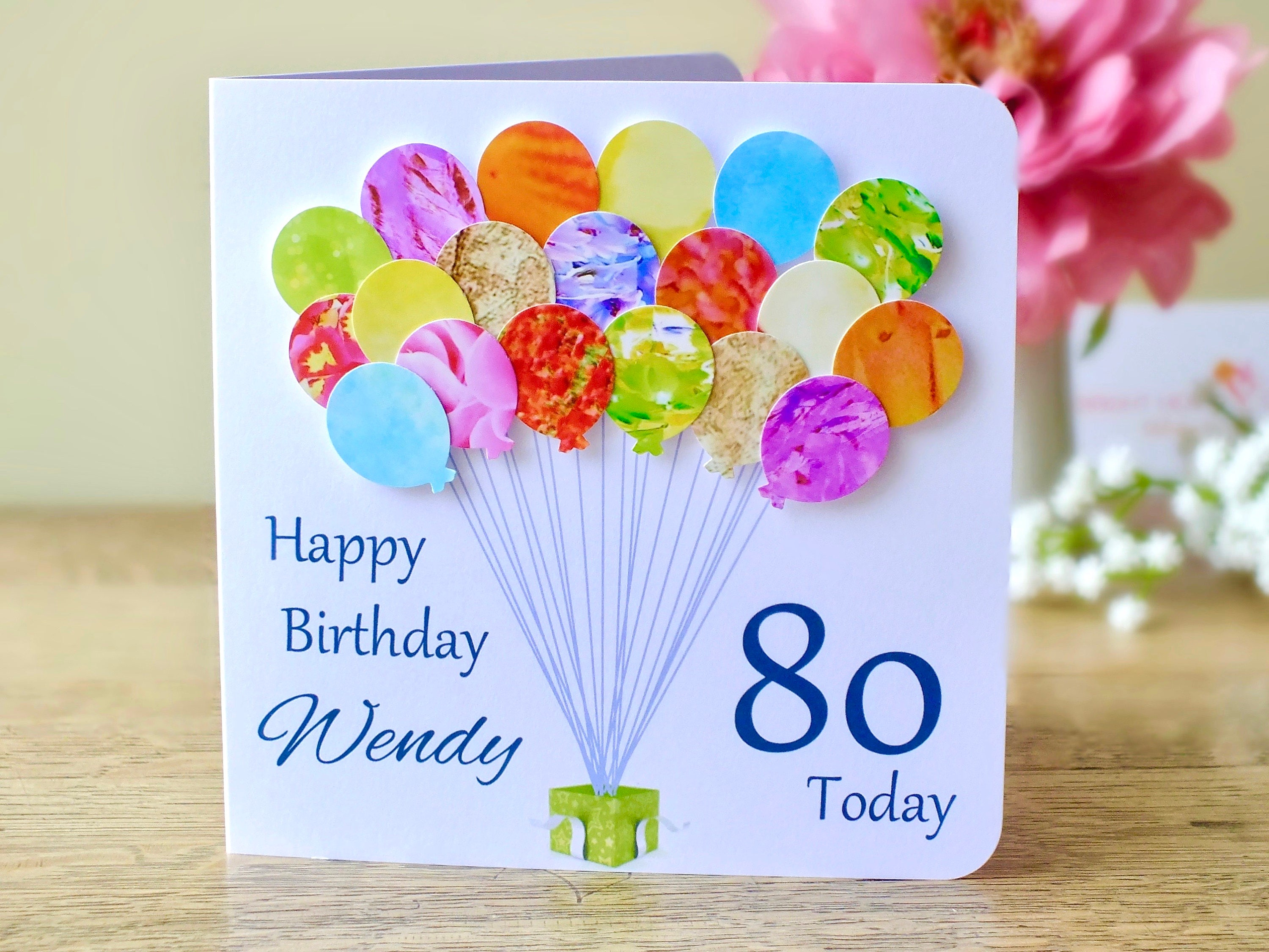 80th Birthday Card Personalised Age 80 Balloons