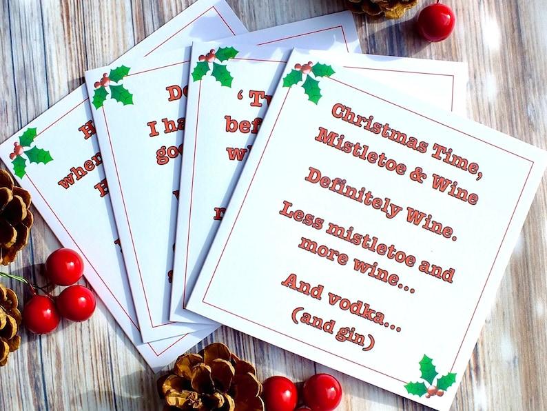 Carte De Noel Droles.Pack De 4 Cartes De Noël Drôles 4 Modèles Différents à Boire Humour Blague Pack De Carte De Noël