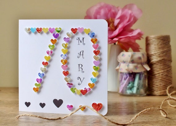 70th Birthday Card With Heart Design Personalised Age 70 Etsy