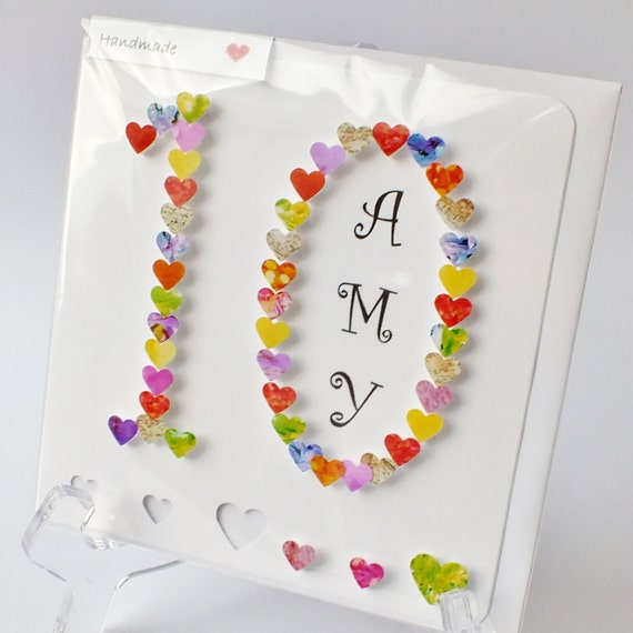 Handmade 3D 10th Birthday Card Personalised