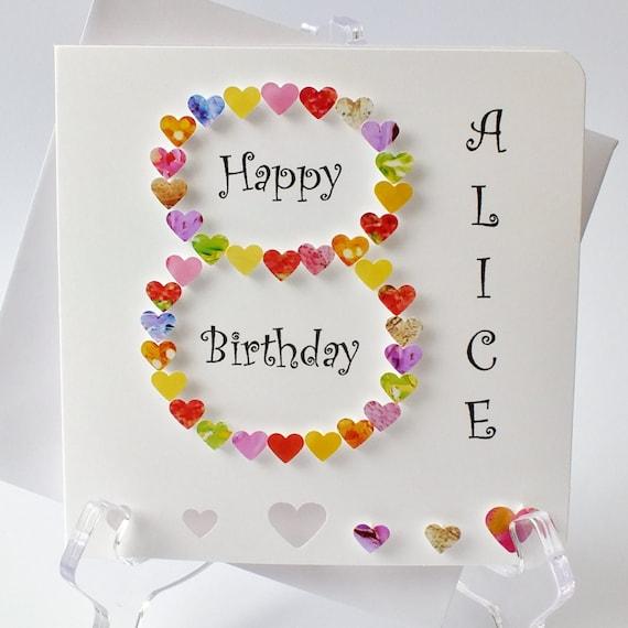 Handmade 3D 8 Card 8th Birthday Personalised