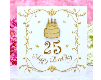 Luxury 25th Birthday Card - Handmade with Wooden Birthday Cake - Personalised Message Available