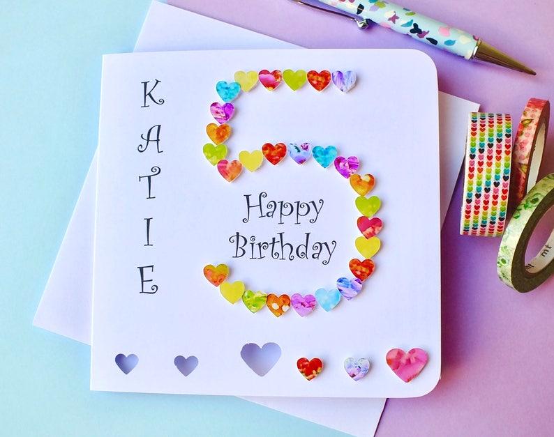 5th Birthday Card Custom Personalised Age 5 Handmade