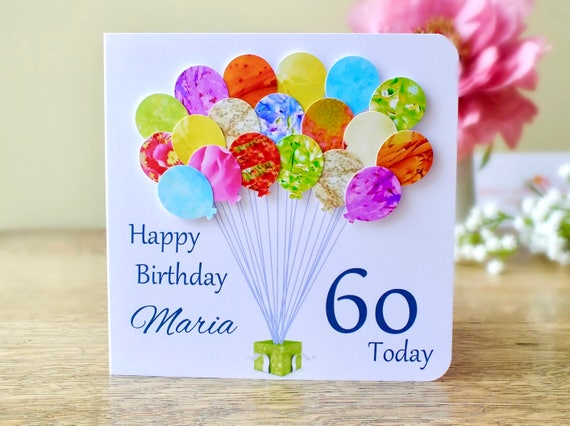 60th Birthday Card Personalised Age 60 Birthday Balloons Etsy