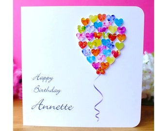 Personalised Birthday Card – Customised Colourful Balloon Birthday Card incl. Name - Perfect for Friend, Mum, Dad, Daughter, Son, etc.