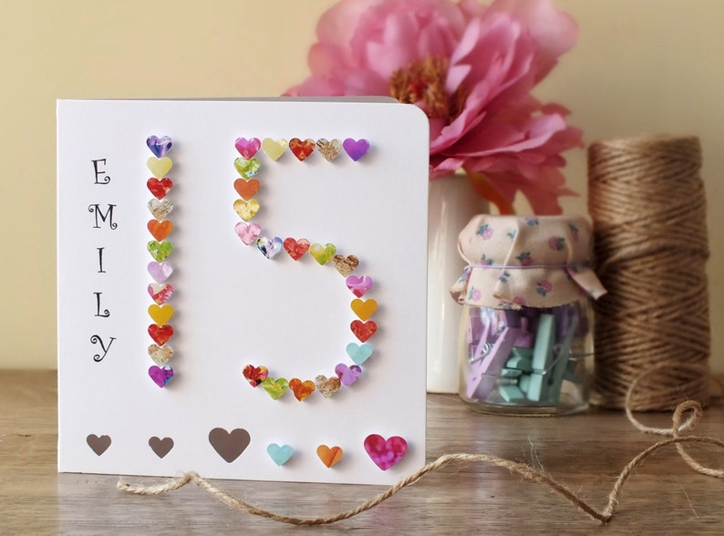 15th Birthday Card Age 15 Handmade Personalised