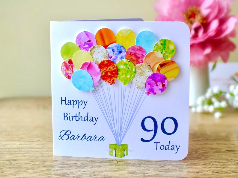 90th Birthday Card Personalised Age 90 Balloons