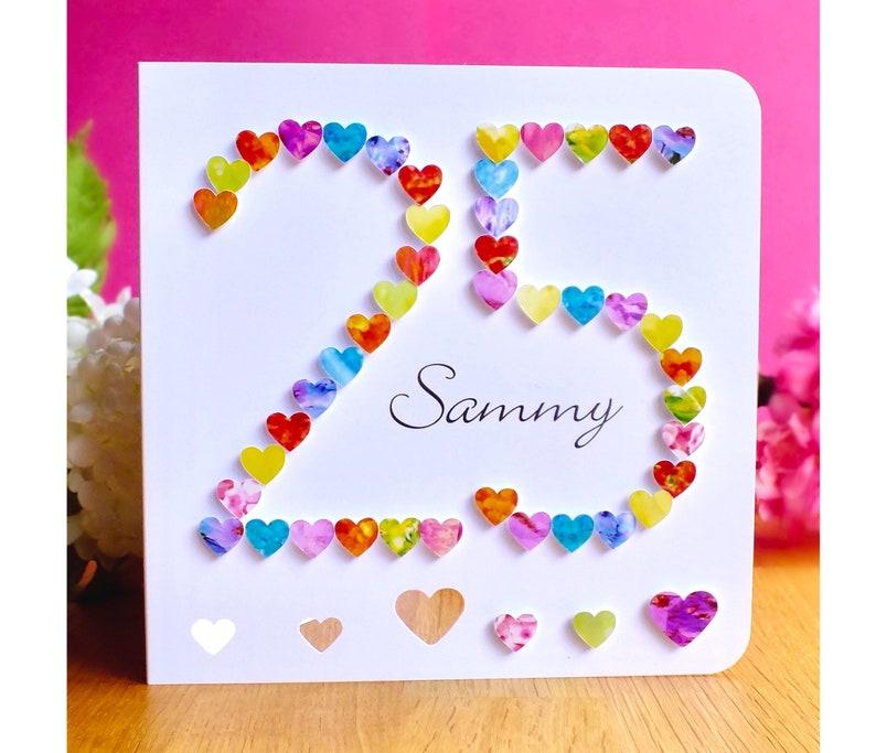 25th Birthday Card Handmade Personalised Age 25