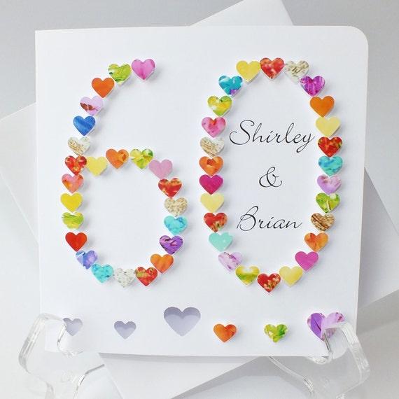 60th wedding anniversary card handmade diamond wedding etsy image 0 m4hsunfo