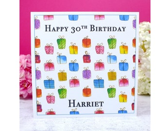 Personalised Birthday Card - Any Age & Name Custom Multi Coloured Card - Mum - Dad - Sister - Friend 18, 20, 30th, 40th, 50th, 60th, 70th,