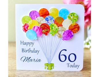 60th Birthday Card - Personalised Age 60 Birthday Balloons Card - Handmade Custom Personalised - Mum - Dad - Sister - Friend Colourful BHB60