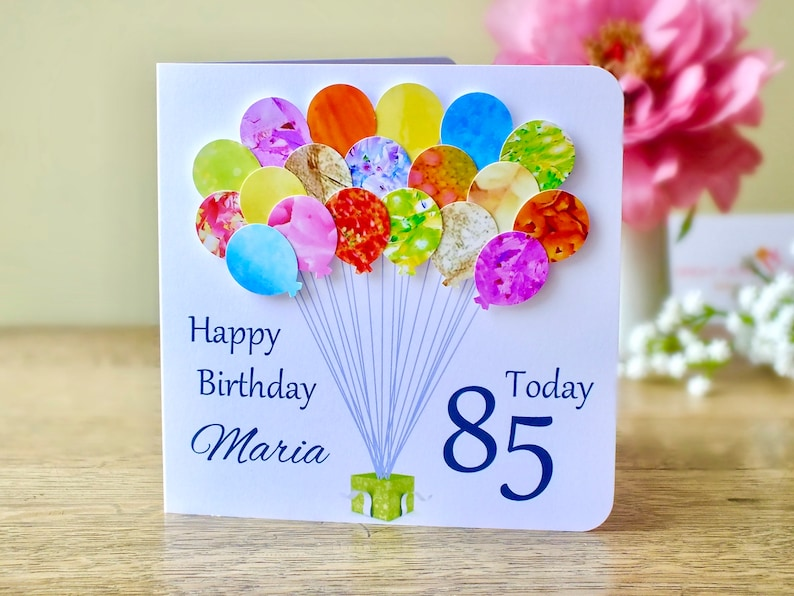 85th Birthday Card Personalised Age 85 Balloons