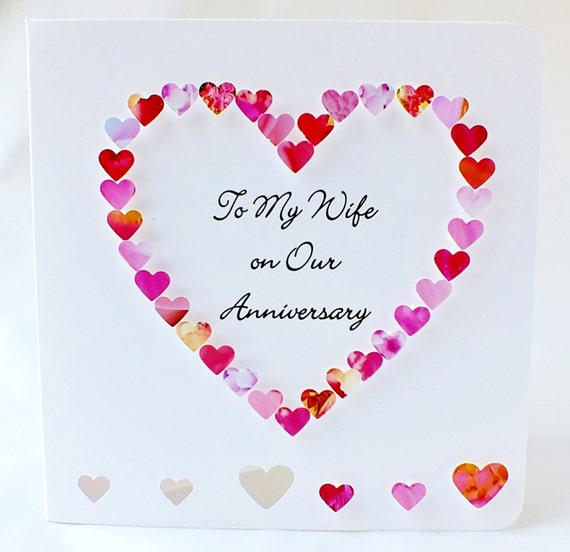 Handmade 3d Anniversary Card Personalised Personalized To My Wife On Our Anniversary Heart Happy Wedding Anniversary Name Pink Bhe01a