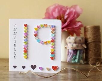19th Birthday Card - Age 19 Birthday Card - Personalised 19th Card -  Birthday - Nineteen Years Old - Boy - Girl - Cards by Gaynor - BHA19