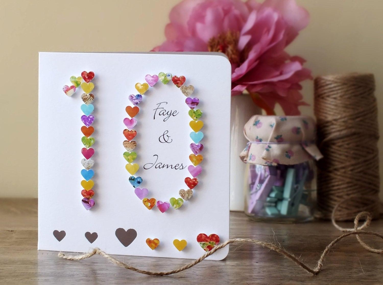 10th Wedding Anniversary Card Handmade Personalised Tenth Etsy