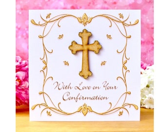 Confirmation Card for Girls or Boys - With Love on Your Confirmation Day with Luxury Wooden Cross Detail