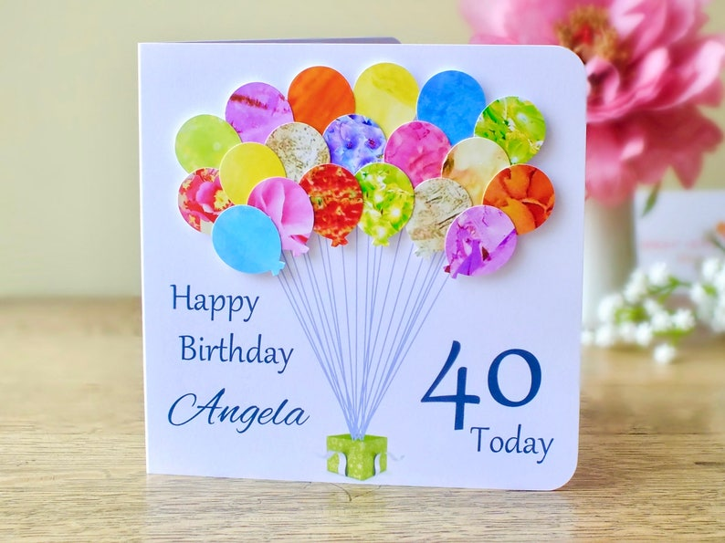 40th Birthday Card Personalised Age 40 Balloons