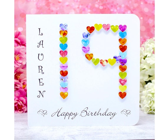 19th Birthday Card Colourful /& Customised from Bright Heart Design Handmade and Personalised Age 19 Birthday Card