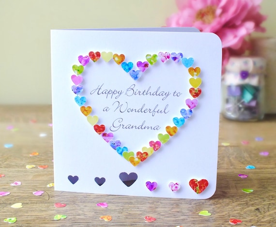 Grandma Birthday Card Handmade Personalised Birthday Card Etsy