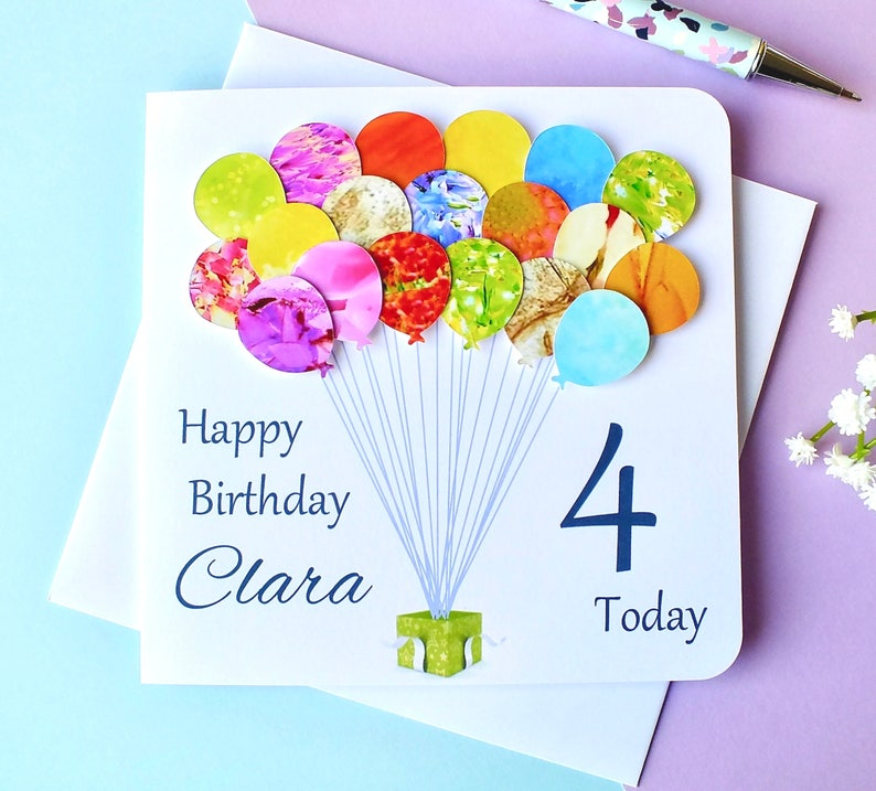 4th Birthday Card Personalised Age 4 Balloons