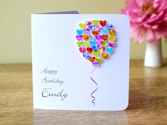 Handmade 3d Birthday Card Personalised Colourful Balloons Etsy