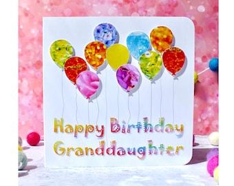 Granddaughter Birthday Card - Personalised Colourful Birthday Balloons - Handmade Custom Grandaughter Cards from Bright Heart Design