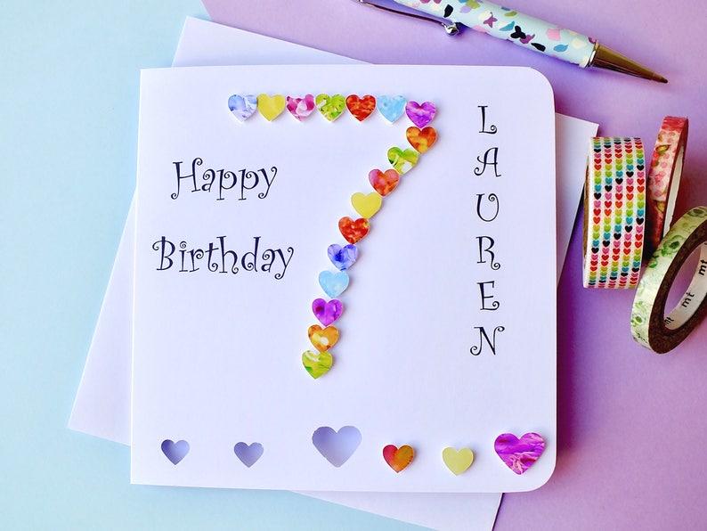 7th Birthday Card Age 7 Birthday Card Personalised Etsy