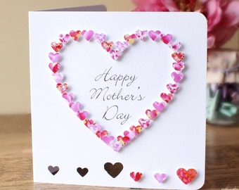 Handmade 3D Mother's Day Card, Personalised, Personalized, Happy Mothers Day, Love Heart, Pink, Customised, Mom, Mothering Sunday