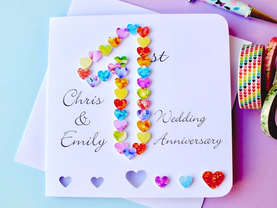 1st wedding anniversary card handmade personalised first etsy image 0 m4hsunfo